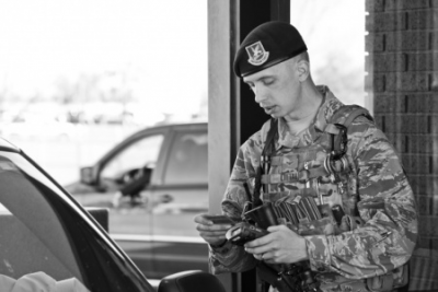 image of military installation id checkpoint at gate