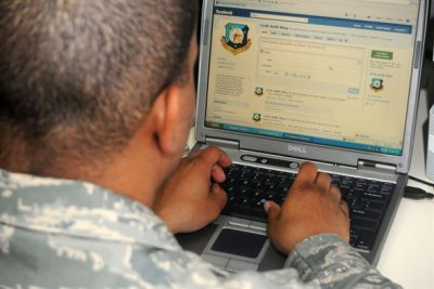 service member using a website
