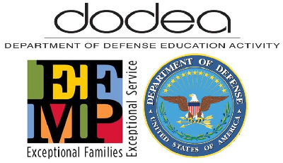 logos for the Department of Defense Education Activity (DODEA), the Exceptional Family Member Program (EFMP), and the seal of the United States Department of Defense arranged in a compact square