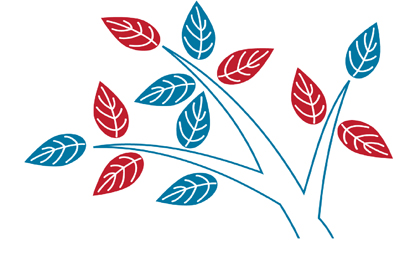 Branches with blue and red leaves representing the Branch TA Logo
