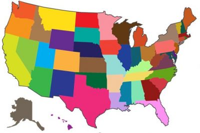 United States Map with multi-colored States