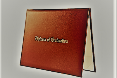 "a brown folder with the words ""Diploma of Graduation"" on the front cover"