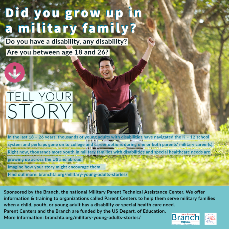 image of flyer for Military Young Adult Tell Your Story Project